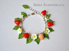 "Strawberry Bracelet  polymer Clay Tutorial. ""Клубничный браслет"" мастер ..."