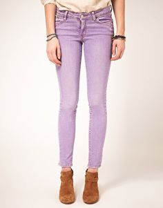 Shop pastel skinny jeans, a celebrity favorite, on SHEfinds. Pastel Jeans, Purple Jeans, White Jeans, Colored Skinny Jeans, Denim Branding, Cute Fall Outfits, Free Clothes, Fashion Outfits, Womens Fashion