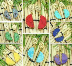 Best Sale Natural D Shape Turquoise  24k Gold Plated Earring Handmade Jewelry 07 #Handmade #DropDangle