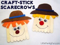 6 year old could independently do this, while I helped my 2 year old. Oldest asked to make another one :-)  Ha! I love these Kooky Craft Stick Scarecrows.They're such cute, simple fall crafts for kids!