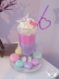fairykeiheaven: So I made my Fairykei/Popkei inspired milkshake. Cute Desserts, Delicious Desserts, Yummy Food, Fancy Drinks, Yummy Drinks, Milk Shakes, Kawaii Dessert, Unicorn Foods, Kawaii Shop