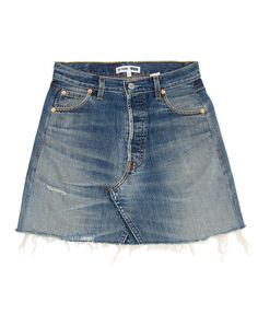 The RE/DONE High Rise Mini Skirt, made from repurposed vintage Levi's jeans, sits at your waist, maintaining its classic five-pocket style, and finishes at your