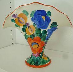 Vtg Czech Peasant Art Pottery vase Hand Painted 1920-30's floral (01/12/2014)