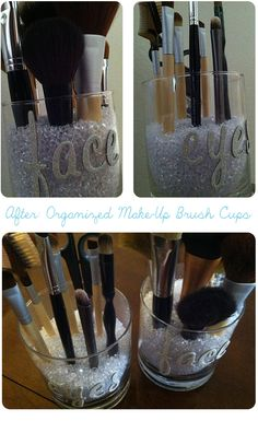 After: Organized Make-up Brush Cups! #beauty, #younique #mineralmakeup https://www.youniqueproducts.com/Jess/