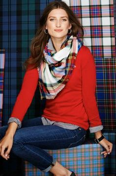Classic fashion:  jeans, blouse, cashmere sweater and plaid scarf : )