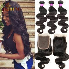#1B, Natural color body wave with closure, you are the new princess, the best gifts for yourself and your beloved one.