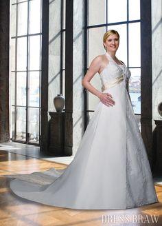 Gorgeous Empire Halter Floor-length Chapel Appliques Plus Size Wedding Dresses