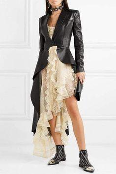 Black Vegan Leather Asymmetrical Peplum Blazer Jacket, S Peplum Blazer, Blazer Jacket, Alexander Mcqueen, Leather Blazer, Peplum Leather Jacket, Celebrity Outfits, Blazers For Women, Women Blazer, Vestidos