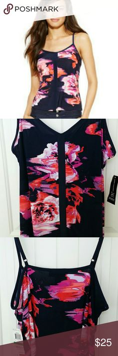 INC International Concepts Tank top V-neck floral print tank top with adjustable straps.  Deep navy blue color with a pretty abstract floral design.  Brand new with tags.   95% polyester 5% spandex. INC International Concepts Tops Tank Tops