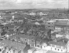 MCL/4/21 Black and white aerial photograph of Duke Street and King Street, St.Helens, 1974. MCL - Clare Collection 4 - Black and white photographs taken from Beecham's Tower, St.Helens
