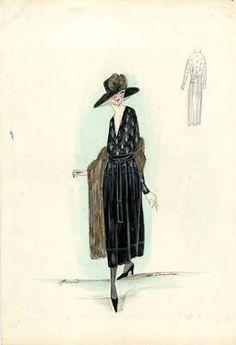 """""""Day dress, Doucet, 1917. Black tea length dress, full skirt; draped bodice, low v-neck, white design on bodice; brown fur stole; wide brimmed black hat, brown fur detail. (Bendel Collection, HB 022-04)"""", 1917. Fashion sketch. Brooklyn Museum, Fashion sketches. (Photo: Brooklyn Museum, SC01.1_Bendel_Collection_HB_022-04_1917_Doucet_SL5.jpg)"""