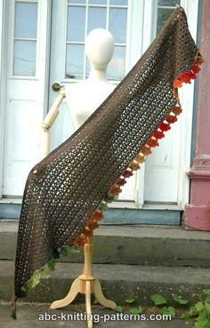 ABC Knitting Patterns - Fall Leaf Stole Crochet Scarves, Crochet Shawl, Free Crochet, Shawl Patterns, Knitting Patterns, Crochet Patterns, Shawls And Wraps, Outdoor Furniture, Outdoor Decor