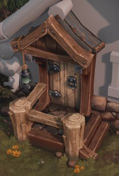 Hand painted environment - Wood house