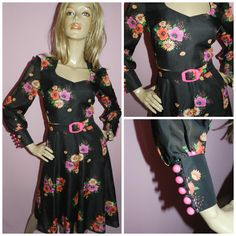Vintage 60s 70s FLOWER POWER FLORAL Floaty chiffon Tea dress 10 S 1960s 1970s Bold Kitsch Deep Cuffs by HoneychildLoves on Etsy