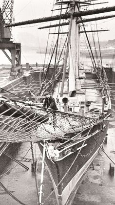 Cutty Sark in dry dock,1951 Learn more about the tea clipper races here: http://joshuarigsby.com/2013/11/03/the-famous-tea-clipper-races/