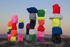 Ugo Rondinone: Seven Magic Mountains, Las Vegas, Nevada, 2016. Photo by…