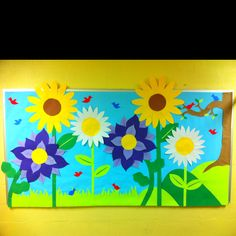 Fun Spring bulletin board I made for my preschool at the time I worked at. Loved it! Preschool Decor, Preschool Bulletin Boards, Art Classroom, Classroom Ideas, Daycare Crafts, Daycare Ideas, Birthday Bulletin Boards, Spring Bulletin Boards, Church Bulletin Boards
