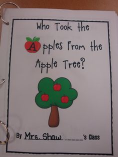 Learning Adventures: Who Took the Apples? I want to change it into a circle time game. Have cards upside down so we don't know who has the apple. Preschool Apple Activities, Preschool Apple Theme, Fall Preschool, Preschool Class, Kindergarten Writing, Preschool Themes, Preschool Lessons, Preschool Apples, Kindergarten Apple Theme