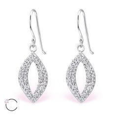 Teardrop Real Sterling Silver Earrings With Crystals From Swarovski®
