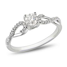 3/8 CT. T.W. Diamond Solitaire Twine Engagement Ring in 10K White Gold  ilove it