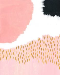 gorgeous painting, coral and pink and black, By ashley goldberg
