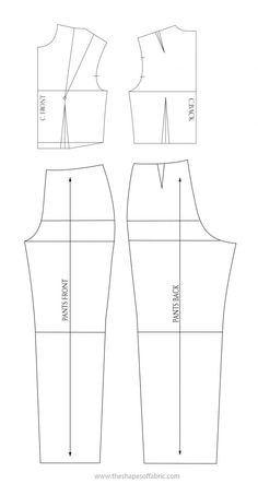 How to draft a fitted jumpsuit pattern, starting from the basic bodice block and the classic pants block. Also, how to then modify the basic pattern. Dress Sewing Patterns, Sewing Patterns Free, Pattern Sewing, Vogue Patterns, Pattern Drafting, Vintage Patterns, Vintage Sewing, Collar Pattern, Jacket Pattern