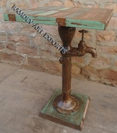 Vintage Square Industrial Handpump Bar Table
