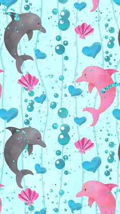 Summer Wallpaper, Lock Screen Wallpaper, Cool Wallpaper, Pattern Wallpaper, Cute Backgrounds, Cute Wallpapers, Wallpaper Backgrounds, Dolphin Art, Dolphin Nails