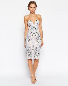 ASOS - Robe fourreau fleurie a decollete plongeant arrondi chez ASOS mode femme fashion