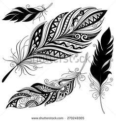 fantasy tattoo: Vector Peerless Decorative feather, tribal design, tattoo Source by citazoe Cage Tattoos, Feather Tattoos, New Tattoos, Tribal Tattoos, Sleeve Tattoos, Tattoos For Guys, Ladies Tattoos, Polynesian Tattoos, Tatoos