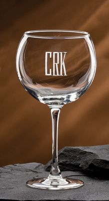 Deep Etched Monogrammed Lyrica Balloon Wine Glassware Set