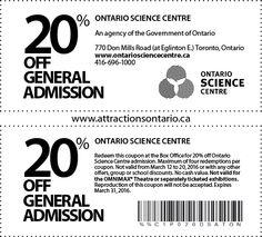 Ontario Science Centre - 2015 Summer Coupon Ontario Attractions, Coupons, Centre, Science, Summer, Summer Time, Coupon