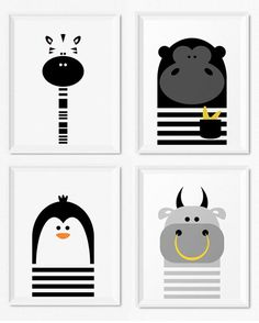 Modern black and white kids and nursery wall art prints, Monochrome nursery decor, Boys room decor - Bull, Zebra, Gorilla and Penguin illustration, Modern animal art prints for kids room and nursery by Limitation Free