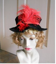 Hat floppy mob mop black velvet fit adult or by HeartsomeHalos, $24.00