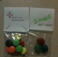 "For a ""zombie"" party- instead of favor bags, making zombie survival kits! ...KDR"