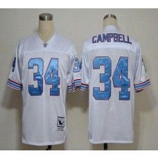 Mitchell And Ness Oilers #34 Earl Campbell White Throwback Stitched NFL Jersey
