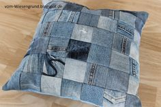 Kissenhülle aus Jeans / Pillowcase made from old pairs of jeans / Upcycling