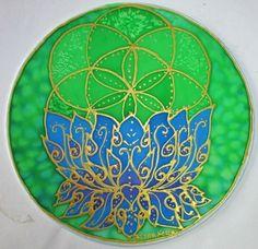 mandala lotus art spiritual gift throat by HeavenOnEarthSilks