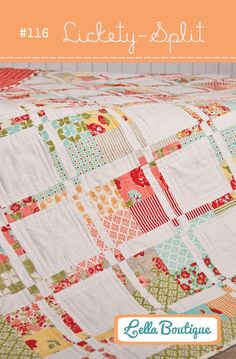 """A sweet and simple 4-to-9 patch quilt made using a layer cake or fat quarters. Finished quilt size is 73 x 73""""  Materials Needed:  * 1 layer cake (42 10 x 10"""" squares) or 14 fat quarters *3 yards neutral fabric *1 yard border fabric *4-1/2 yards back fabric *3/4 yard binding fabric *76 x 76"""" batting  Fabrics are """"Marmalade"""" by Bonnie & Camille for Moda. This is a PDF version of the pattern and will be e-mailed immediately to the recipient."""