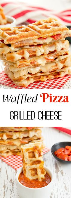 Waffled Pizza Grilled Cheese. Pizza crust cooked in the waffle iron, melted mozzarella, pepperoni and marinara sauce!