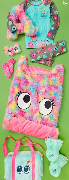 Furry monster fun for everyone! Furry monster fun for everyone! Justice Girls Clothes, Girls Sports Clothes, Justice Clothing, Kids Outfits Girls, Girls Fashion Clothes, Girl Outfits, Cute Outfits, Justice Pajamas, Justice Accessories