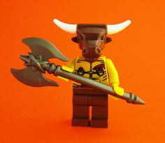 This Friday the custom Lego weapon of the week is the Minotaur Axe.  This beauty is wielded with two hands by only the strongest and fearsome of creatures, like the minotaur.  Regular minifigures are too weak to even lift this deadly axe!  But a minotaur can swing it around like they're showing off, marching through a parade.  And be careful…with the double blades it's pretty hard to miss (if you know what I mean). #Lego #weapons #axe #minifigures #minotaur #gladiator #battle #greek…