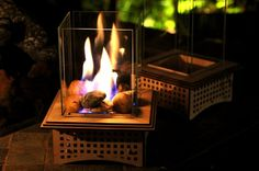 Add a mini-fireplace to your next gathering to enjoy the dancing flame for hours. With gel fuel, this lantern lights instantly and can be controlled easily for safety. The 6 tall thick, beveled glass adds interesting reflections, but can also be removed quickly for making dessert, like