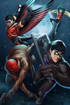 Nightwing, red hood, robin, and red robin