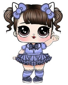 Lol Dolls, Cute Dolls, Kindergarten Coloring Pages, Baby Shower Labels, Baby Girl Elephant, Baby Clip Art, Cute Characters, Miniature Dolls, Cat Art