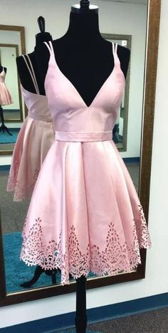 2017 homecoming dresses, A-line homecoming dresses, pink homecoming dresses, spaghetti straps homecoming dresses, backless homecoming dresses, short prom dresses, party dresses, formal dresses#SIMIBridal #homecomingdresses