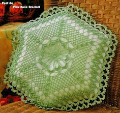 Green pillow with diagram