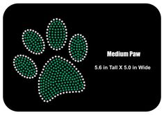 Rhinestone Bling Iron-on T-shirt Transfer Paw Bling - Mascot  - Two sizes to choose from - Sport school  - Applique  - Bling DIY