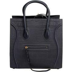 Celine Luggage Phantom Nubuck Stamped Crocodile Bag (€2.255) ❤ liked on Polyvore featuring bags, handbags, women, wing bags, buckle bag, navy bag, croc bags and crocodile bag