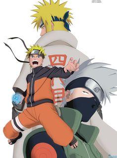 Minato, Naruto and Kakashi by Lanessa29